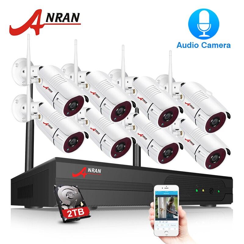 ANRAN Security Камера Системы Wi-Fi 8CH NVR с 1080P HD аудио запись открытый Ночное видение CCTV Камера видеонаблюдения Системы