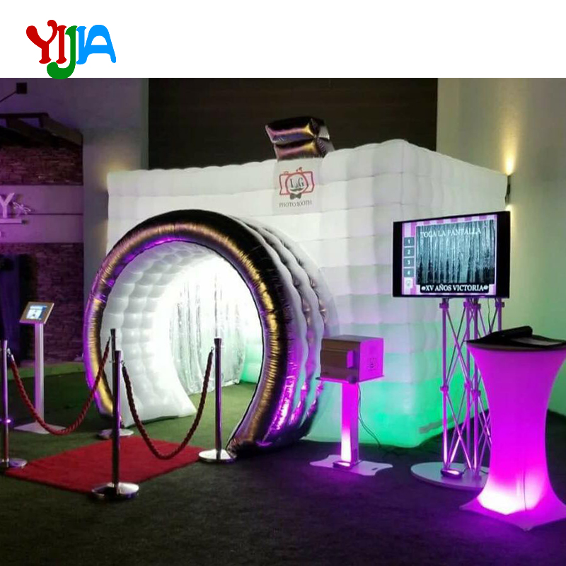 New Design Camera Shape Inflatable Photo Booth With LED Strip Lights Color Changing Inflatable Tent For Advertising Party Event