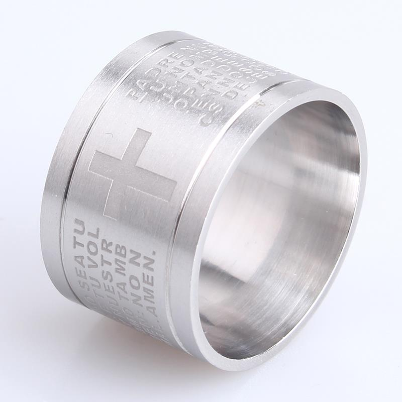 free shipping 15mm Silver Carved cross Bible 316L Stainless Steel finger rings for women men wholesale