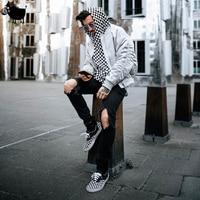Man Si Tun 2018 Fashion Casual Black White Sweatshirts Bieber Style High Street Checkerboard Lattice Men