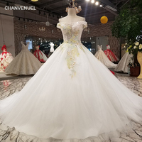 LS62196 elegant ball gown evening dress with handworking flowers off shoulder boat neck party dress with sequins for lovely girl