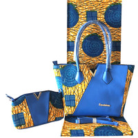 Beautiful party African cotton veritable Holland wax fabric(6yards/lot) with 2 bags set for lady FB8 5