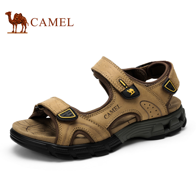 Camel Sandals Male Summer 2016 Cattle leather Sandals  Wear-resistant Beach Breathable Leisure Men's Sandals A622307277 camel men s outdoor anti collision toe cap cowhide casual beach sandals summer breathable river sandal male a622309222