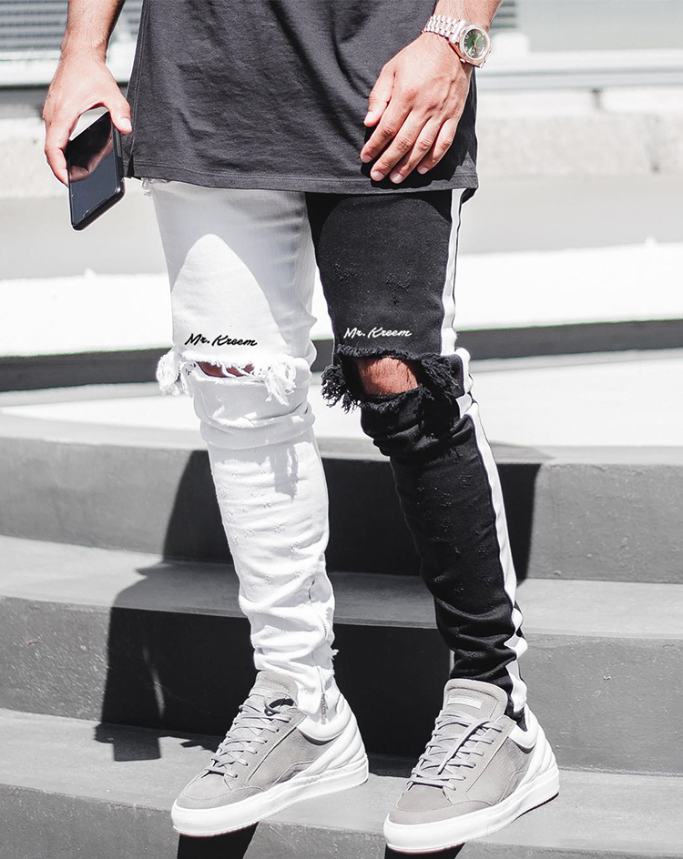 Men Stylish Ripped Jeans Pants Biker Skinny Slim Straight Frayed Denim Trousers New Fashion Skinny Jeans Men Clothes Size M-XXXL