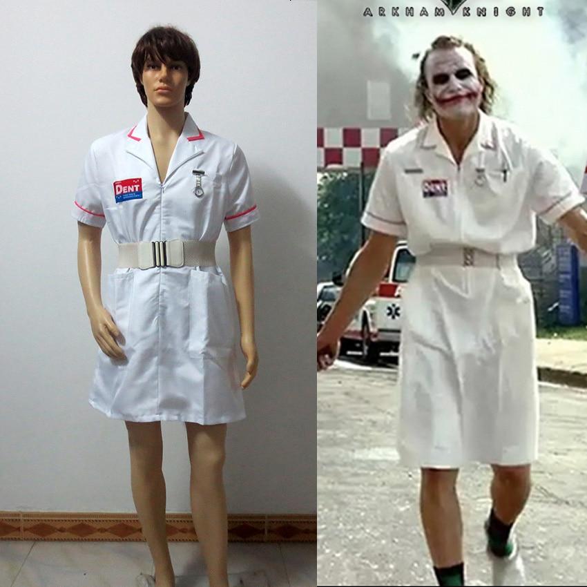 Batman Joker Cosplay Costume White Nurse Uniform Coat V2 Dress Custom Made Free Shipping