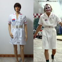 Batman Joker Cosplay Costume White Nurse Uniform Coat V2 Dress Custom Made Free Shipping