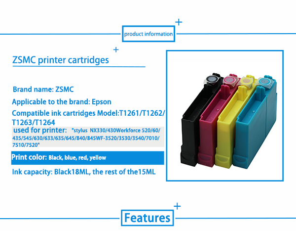 4 Pack 1 Black,1 Cyan,1 Magenta,1 Yellow Innature Remanufactured Ink Cartridge Replacement for Epson 126 T126 to use with Workforce 435 520 545 635 645 WF-3520 WF-3530 WF-3540 WF-7010 WF-7510