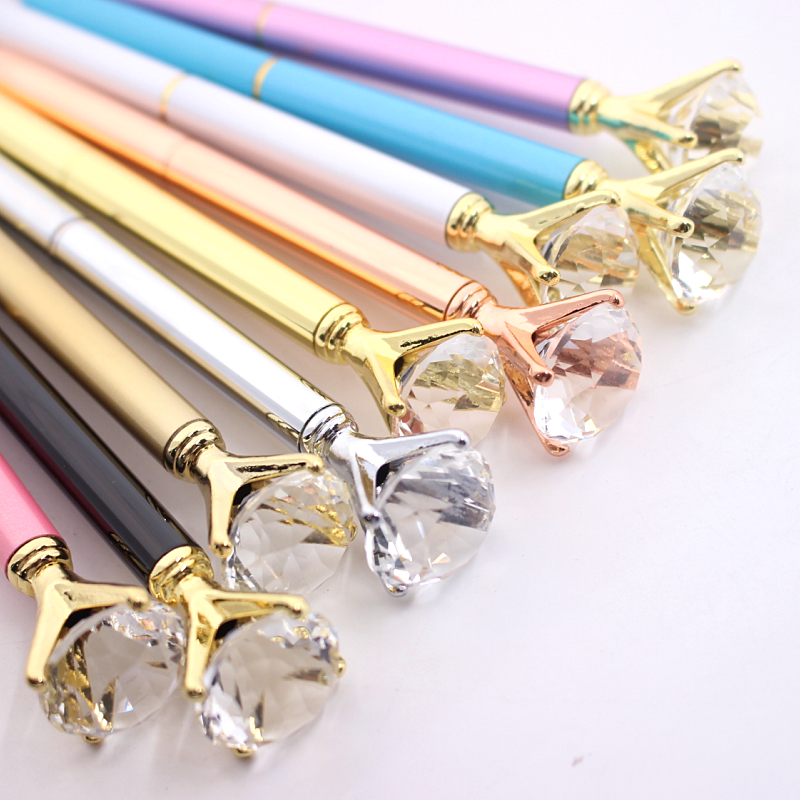 1PCS Kawaii Ballpoint Pen Big Gem Metal Ball Pen With Large Diamond Blue And Black Magical Pen Fashion School Office Supplies genuine leather women s shoulder bag fashion patchwork plaid women cross body bags colorful tote lady messenger bag