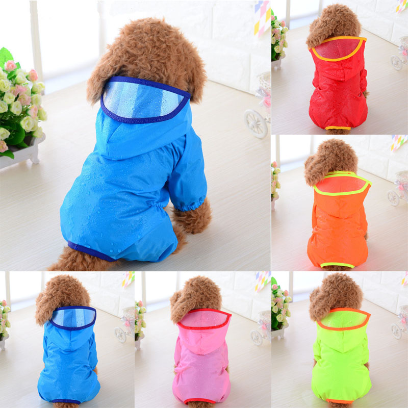 2019 HOOPET Pet Large Dogs Raincoat Out Door Walking Waterproof Detachable Rain Cover Water Protection Big Dog Clothes Blue