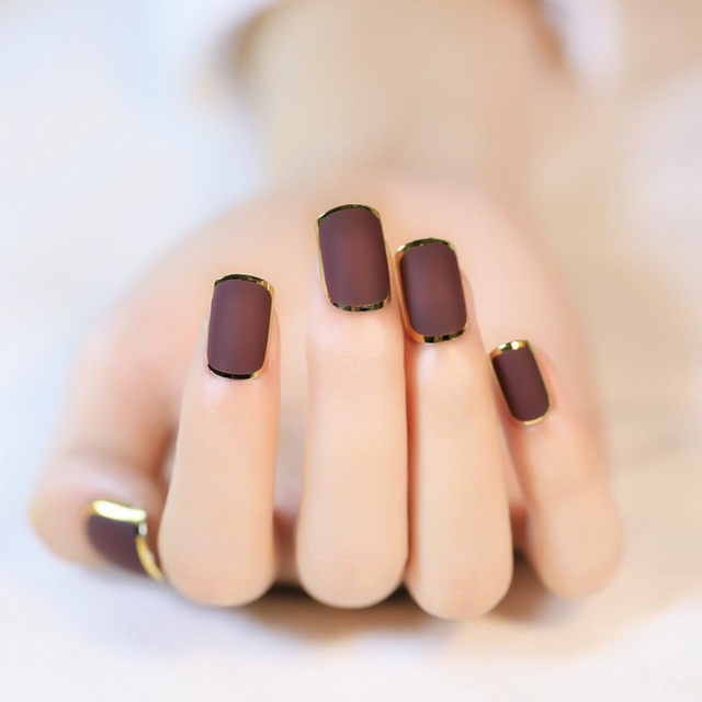 Online Shop 24pcs New Brown False Nails Metallic Gold Acrylic Nails ...