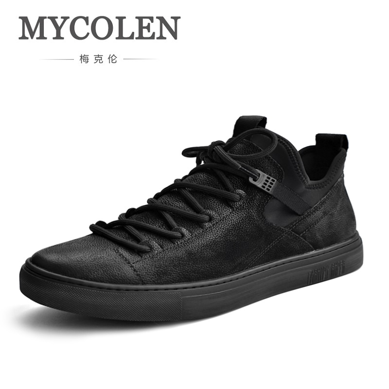 MYCOLEN 2018 Spring/Autumn Tide Genuine Leather Casual Shoes Breathable Shoes Lace Up Popular Luxury Cozy Brand Men Shoes ege brand handmade genuine leather spring shoes lace up breathable men casual shoes new fashion designer red flat male shoes