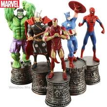 Hasbro Marvel 5PCS International Chess Decoration Green Giant Iron Man American Captain Spider-Man Doll Model Hand Toy Collectio
