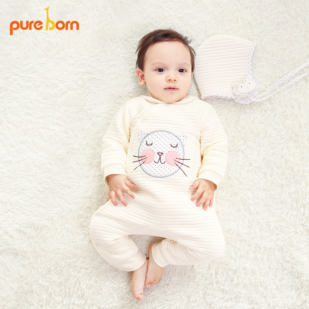 Pureborn Baby Clothes Baby Romper Cotton Clothing For Newborns Jumpsuit Coverall Baby Costume Girls Boys Cartoon One Piece Price Remains Stable