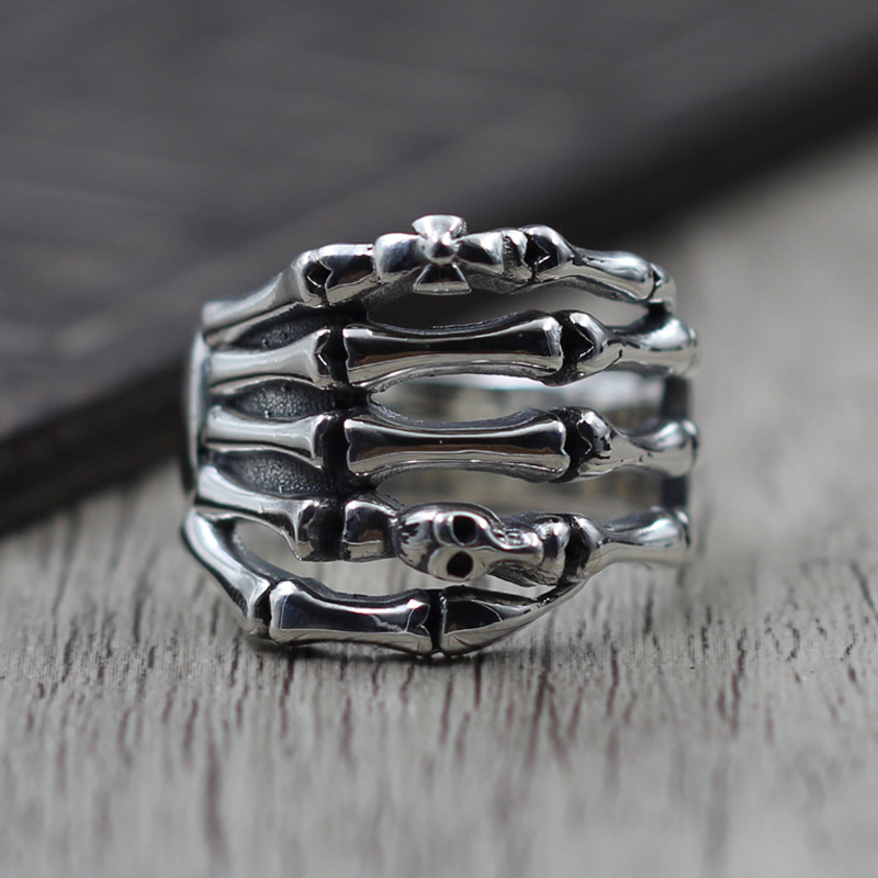 Thai Silver Personality Skeleton Finger Ring Retro Ring mens S925 Sterling Silver Jewelry
