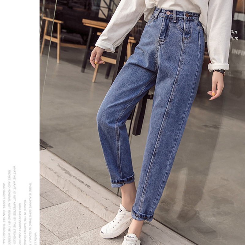 JUJULAND 2019 Spring Clothes Ladies High Waist Female Boyfriend Jeans With A Tight Waistl Denim Ripped Jean Woman Plus Size
