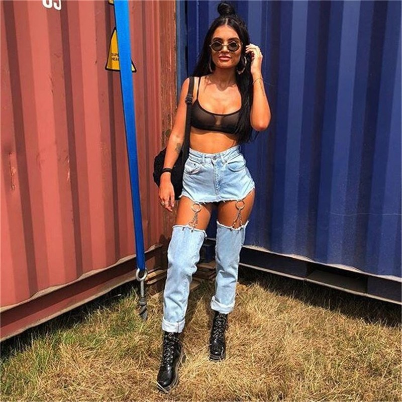 Sexy Hollow Out Denim Trousers 2019 Autumn Women Hip Hop Patchwork Straight Pants Casual Solid Jeans Stretch Detachable Jeans