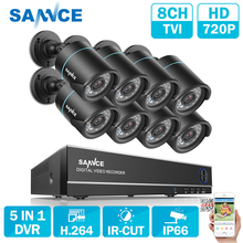 SANNCE 8CH Security Camera System 1080N 5in1 DVR Reorder and 8PCS HD 720P Outdoor Bullet CCTV