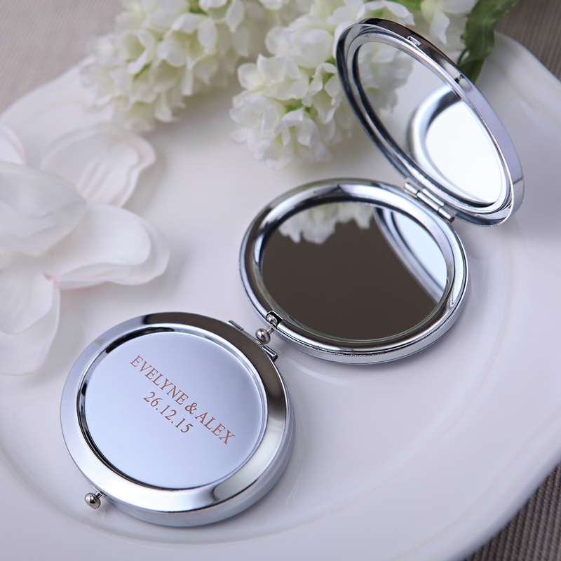 48pcs free shipping personalized wedding favor and gift for guests round make up mirror with