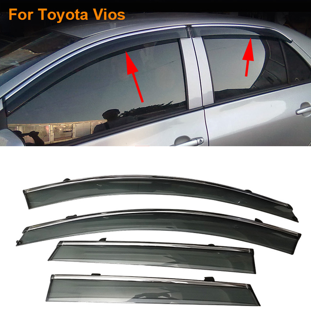 Car Stylingg Awnings Shelters 4pcs/lot Window Visors For Toyota Vios 2010-2017 Sun Rain Shield Stickers Covers