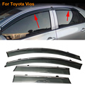 Stylingg Toldos Abrigos 4 pçs/lote Viseiras Da Janela do carro Para Toyota Vios 2010-2017 Sol Chuva Escudo Adesivos Covers