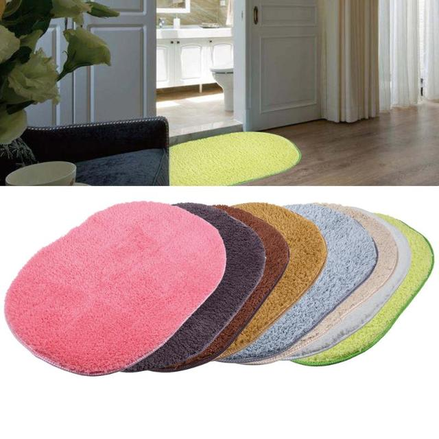40x60cm Soft Doormat Floor Rugs Bathroom Carpet Oval Non Slip Kitchen Bath  Mats Plain Rug