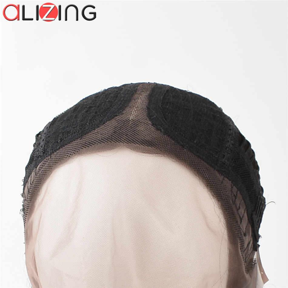 Alizing передний парик шнурка черного цвета T часть кружева передний al парик синтетические волосы длинные прямые парики шнурка для Африки k059