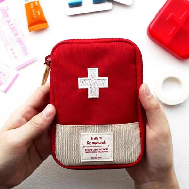 Small Oxford Cloth Outdoor Survival First Aid Bag Emergency Medical Box Wrap Travel Medicine Classifiable Storage Organizer