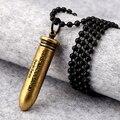 Рок Стиль Vintage Уникальный Скраб Золотая Пуля Форма Мальчик Мужчина Ожерелье Металлические Украшения Черный Шар 70 см Цепи Мужчины Женщины подарок