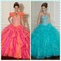 Hot Pink frisada Top Vestido De baile De Organza Fuschia Hot Pink Vestidos De Quinceanera turquesa Vestidos Quinceanera Vestido De 15 Anos