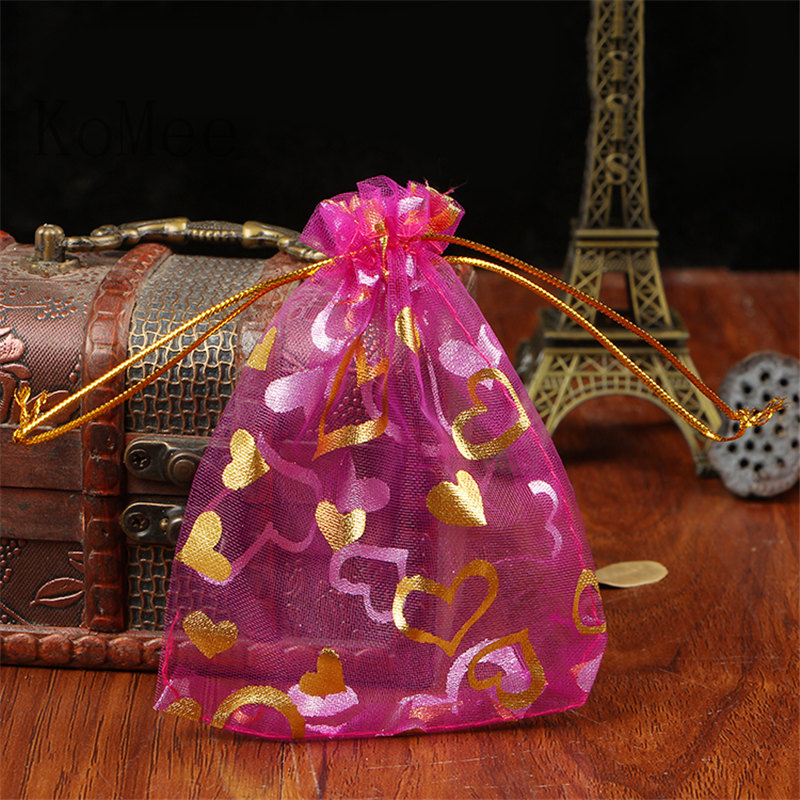 ᑎ 100pcs Lot 17x23cm Hot Pink Organza Bags Heart Design Wedding