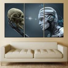 Robot vs Head Skull Paintiing One Set 3 Piece Modular Style Picture Modern Canvas Print Type Home Decor Wall Artwork Poster худи print bar skull robot