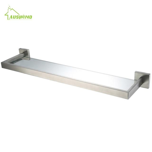 AUSWIND Moderne Silber Gebürstet Bad Regal mit Glas Edelstahl Wand ...