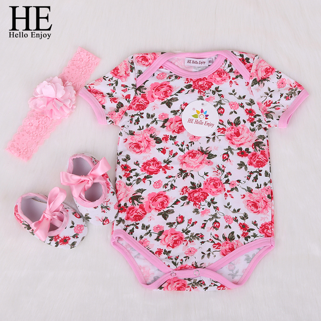 cd5bf4efb108 HE Hello Enjoy Mewborn Baby Clothes Girls Body Infantis Short Baby Clothing  Cotton Floral Jumpsuits Bodysuit Baby Set 3pcs 2018