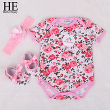 HE Hello Enjoy Mewborn Baby Clothes Girls Body Infantis Short Baby Clothing Cotton Floral Jumpsuits Bodysuit Baby Set 3pcs 2018