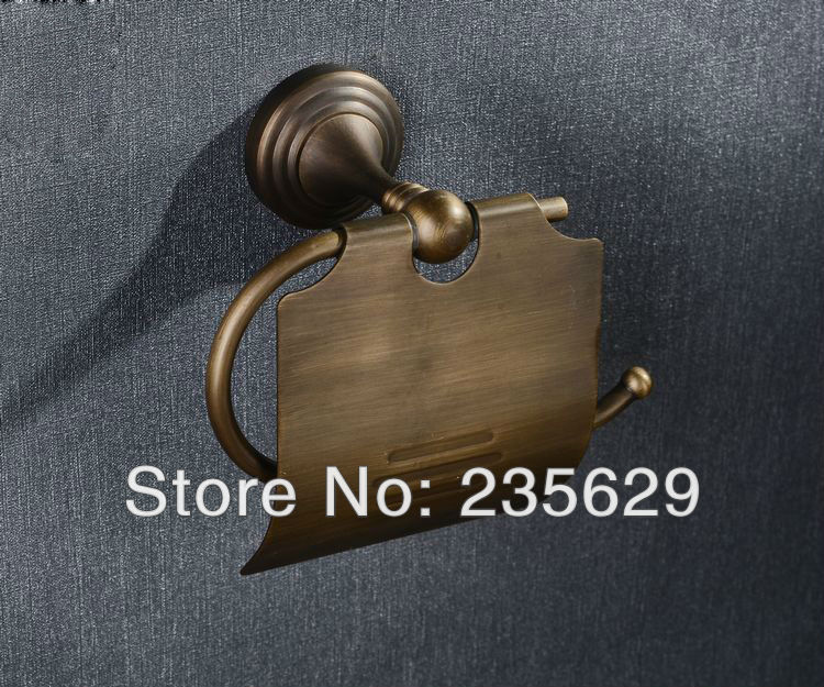 Free Shipping, Bathroom Wall Mounted Toilet Roll Holder,Antiqued Solid Brass Toilet Roll Holder - Dispenser For Toilet Rolls