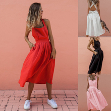 Spring and summer new style Sexy strap buttoned waist pleated dress European American explosion sexy