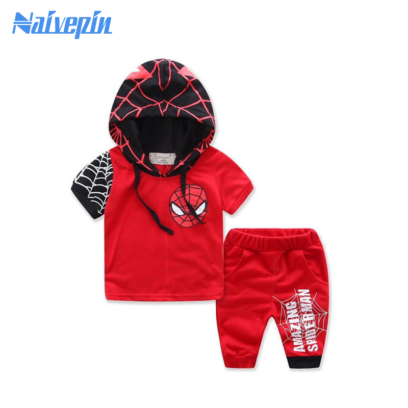 2pcs/set T-shirt Set Boby Clothing Set Summer Style Spiderman Boy's Girls Clothes Set Short Sleeve Ropa Bebes Suit Menino family fashion summer tops 2015 clothers short sleeve t shirt stripe navy style shirt clothes for mother dad and children