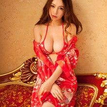 2017 Womens Chemises Sleepwear Sexy Kimono Style Transparent Nightgown Japanese Homewear Suit Erotic Lingerie Babydolls Intimate