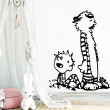 Diy calvin and hobbes dancing Wall Sticker Removable Self Adhesive Watercolo For Childrens Room Decor Decals