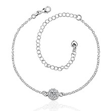2016 Hot Sale Gift Anklet Silver Color silver plated fashion jewelry anklet for women jewelry/iXXRODXXO
