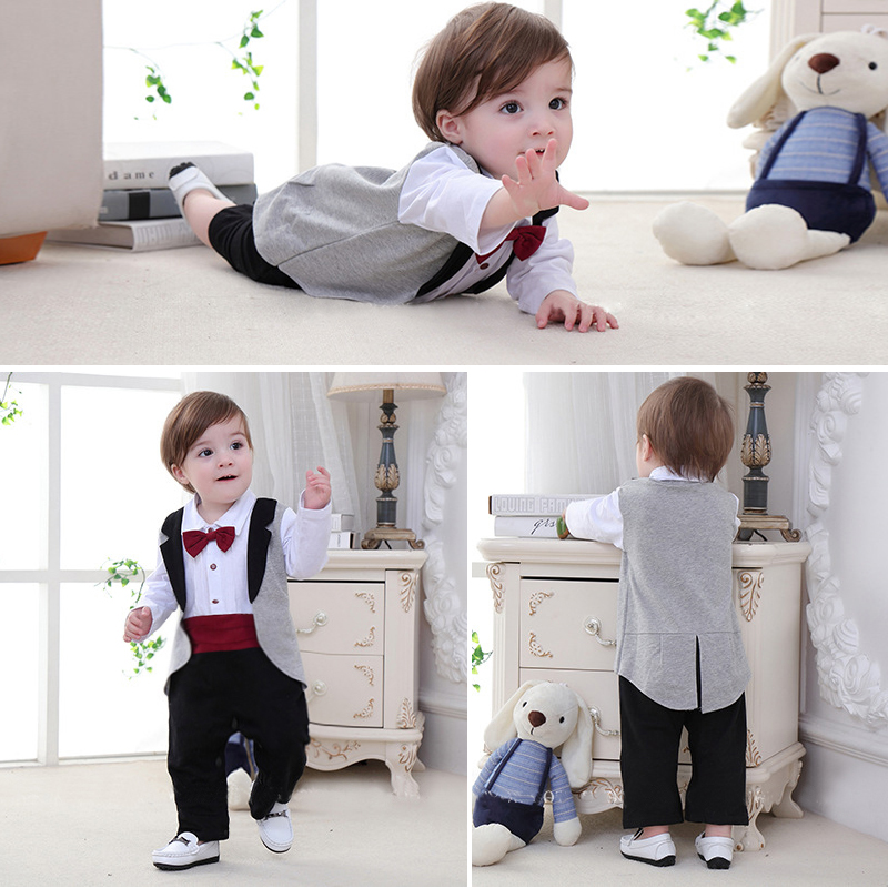 New born Baby Tuxedo sets rompers clothing set for boys weeding birthday formal party clothes dress