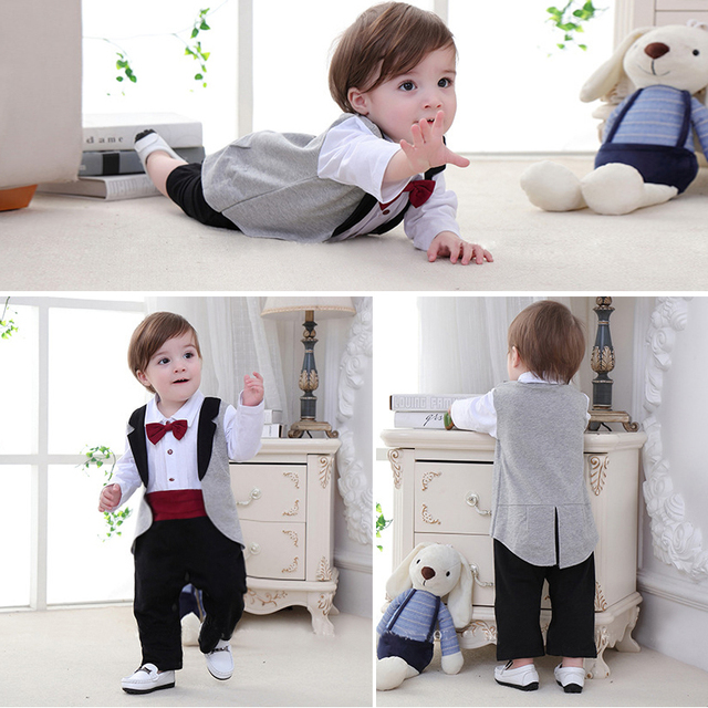 New born Baby Tuxedo sets rompers clothing set for boys weeding birthday formal party clothes dress cotton long sleeve costume