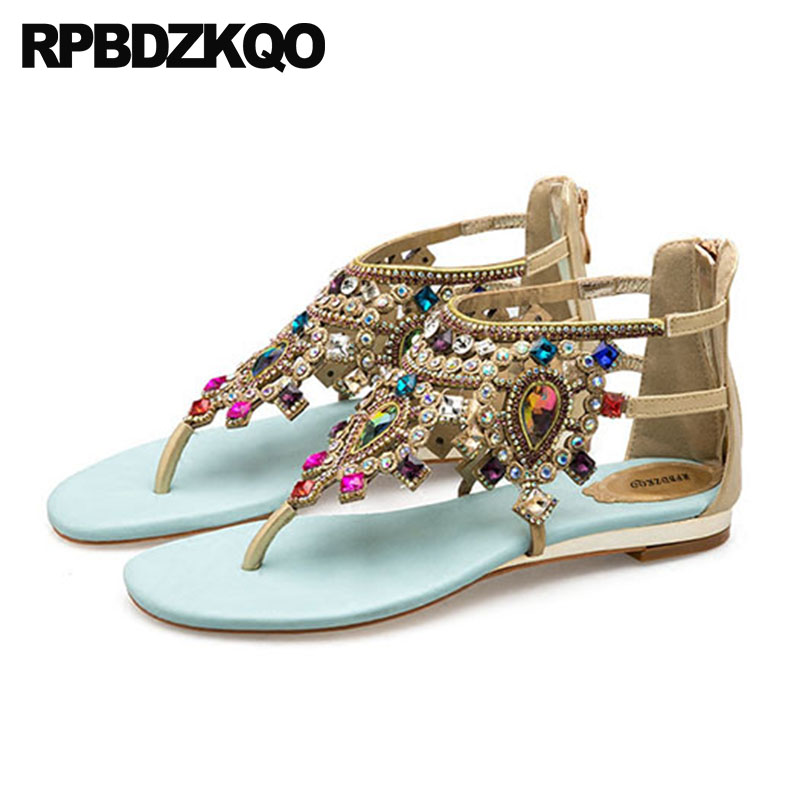 Shoes Rhinestone Ethnic Crystal Blue Thong Flat Jewel Strappy Ladies Fashion Open Toe T Strap Women Sandals 2018 Summer Diamond цена 2017