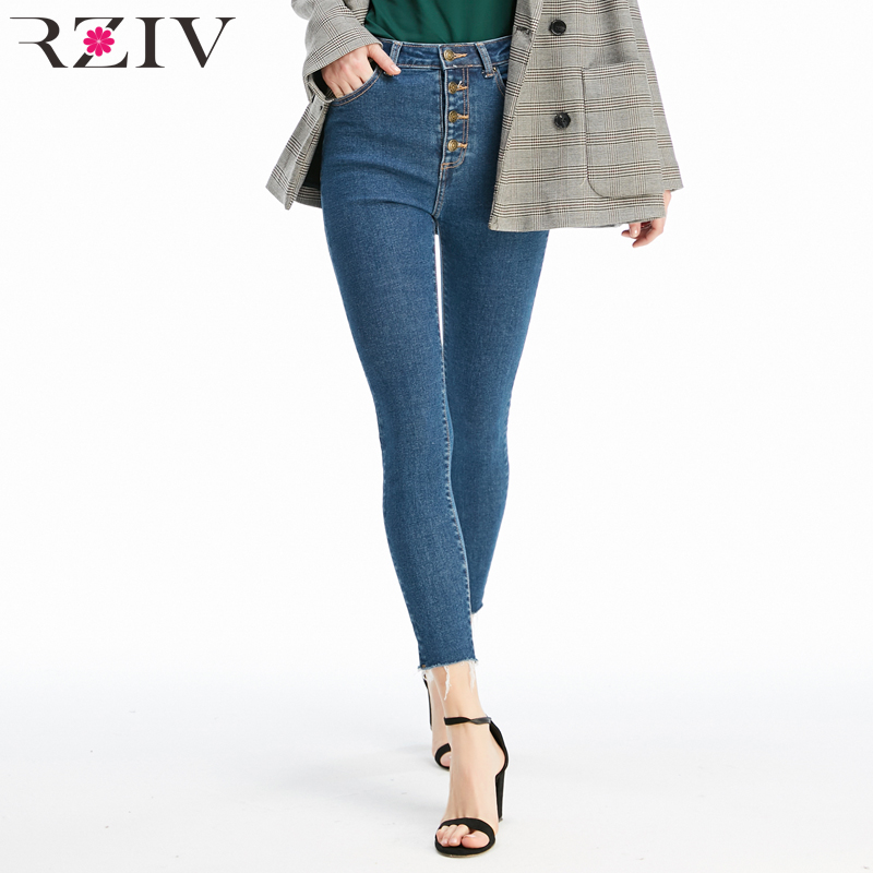 Rziv Autumn High Quality Women Jeans And High Waist Button Fly Denim Skinny Jeans Stretch Pencil Pants