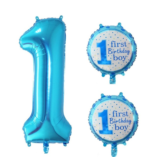 3 Pieces Baby Boy 1st Birthday Balloon Set Blue Number Foil Balloons Party Decorations 1th Kids Supplies No1