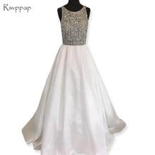 Long Evening Dress 2018 Stunning Scoop Neckline Beaded Crystals Floor  Length Backless Satin White Women Formal Dress 8b0d62155bf9