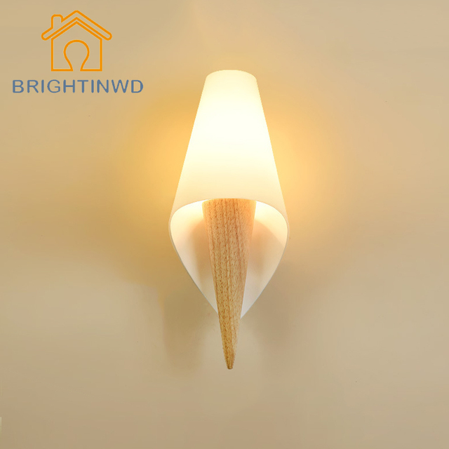 BRIGHTINWD Modern Conch Shaped Nature Wooden Wall Lamp Environment Friendly  Lights For Home Lighting Solid Wood