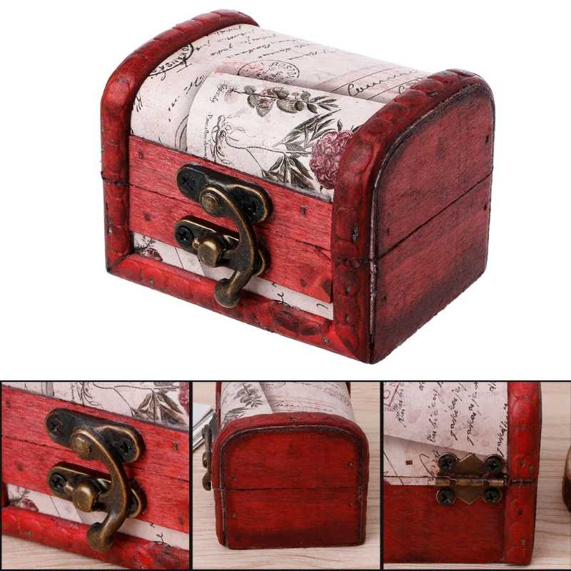 רטרו עץ אחסון תיבת דקורטיבי תכשיט תכשיטי ארגונית בעבודת יד מקרה