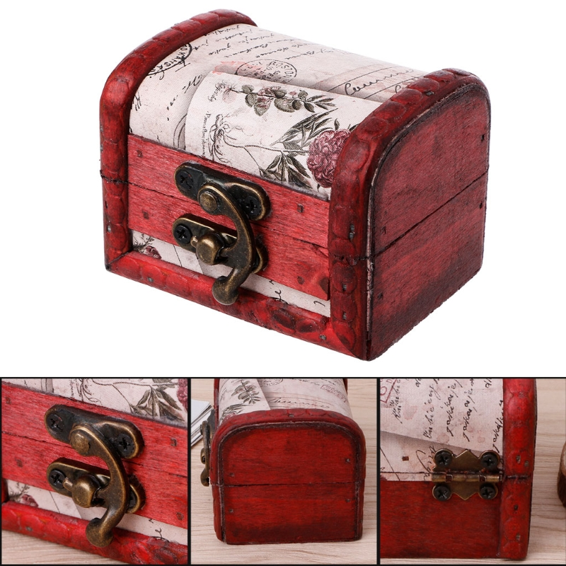 Retro Wooden Storage Box Decorative Trinket Jewelry Organizer Handmade Case