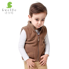 Svelte Brand Winter Kids Boys Fleece Vest Candy Color Zipper Solid Waistcoat Inside Fur Kids Boys